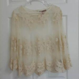 Women's Ivory Lace Blouse Size Medium